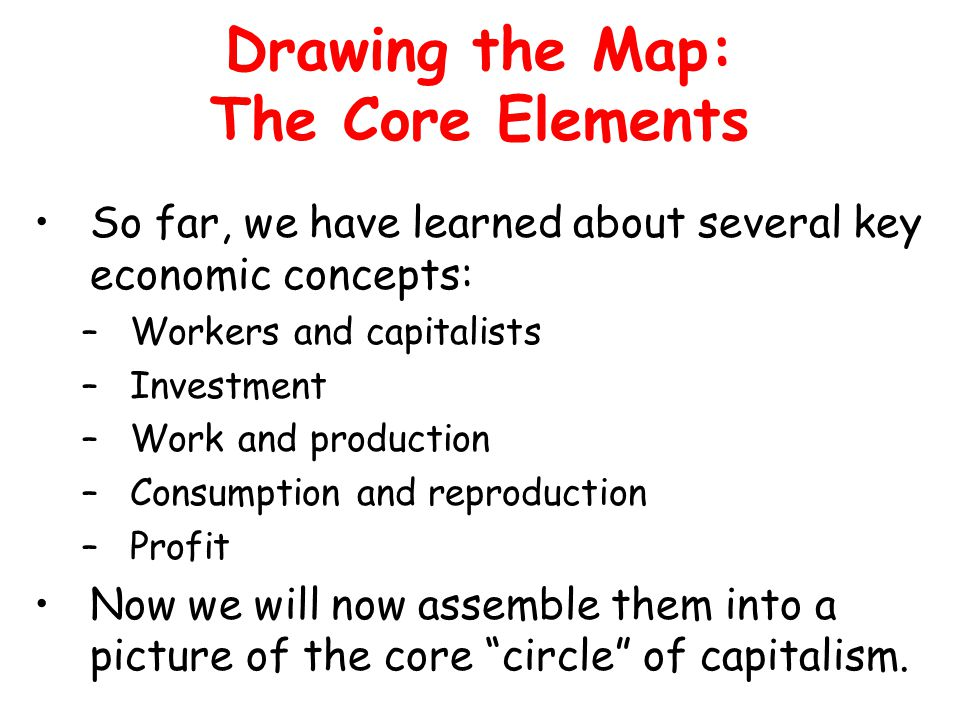 Drawing the Map: The Core Elements So far, we have learned about several key economic concepts: –Workers and capitalists –Investment –Work and production –Consumption and reproduction –Profit Now we will now assemble them into a picture of the core circle of capitalism.