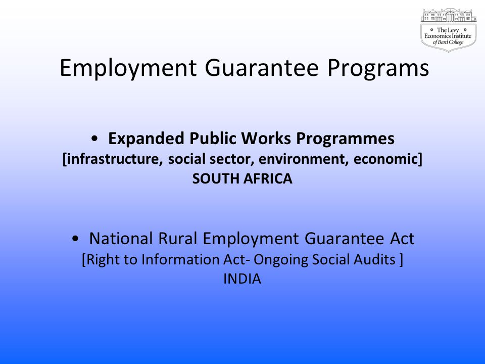 Employment Guarantee Programs Expanded Public Works Programmes [infrastructure, social sector, environment, economic] SOUTH AFRICA National Rural Empl