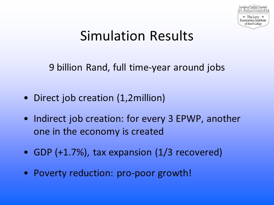 Simulation Results 9 billion Rand, full time-year around jobs Direct job creation (1,2million) Indirect job creation: for every 3 EPWP, another one in the economy is created GDP (+1.7%), tax expansion (1/3 recovered) Poverty reduction: pro-poor growth!