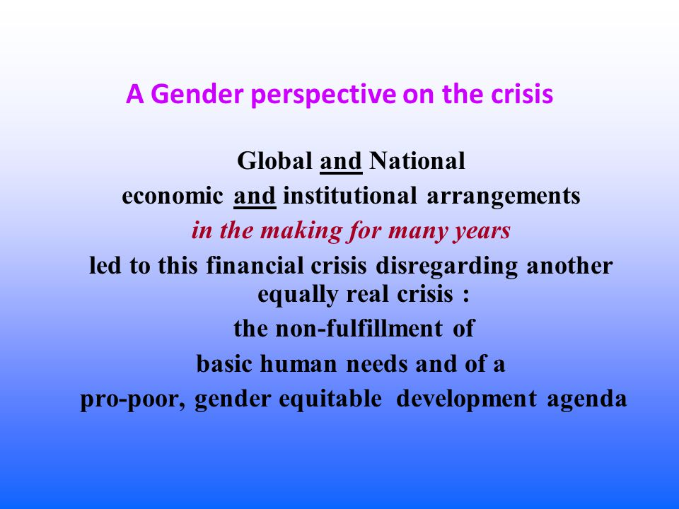 Outline of the issues presented 1.Asymmetric impacts of the Crisis 2.