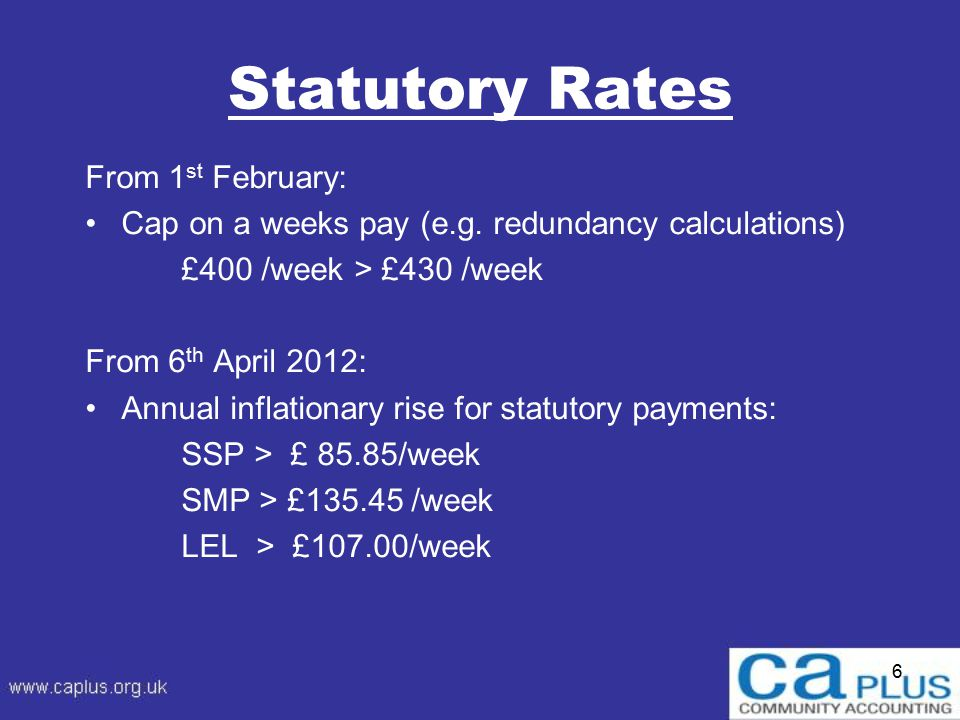 6 Statutory Rates From 1 st February: Cap on a weeks pay (e.g.