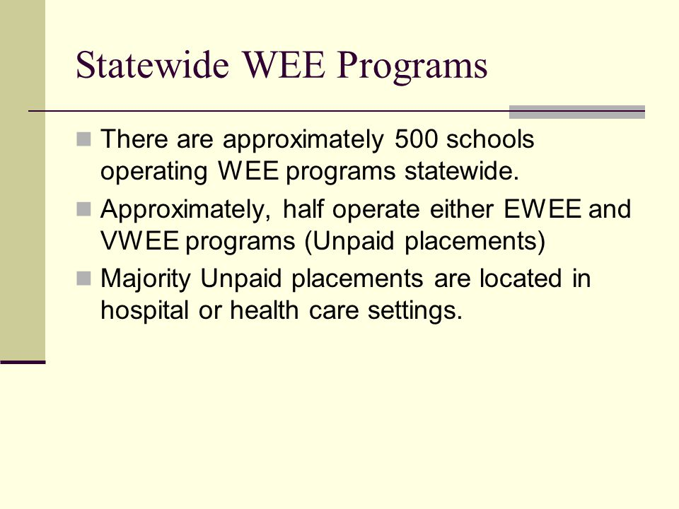 Statewide WEE Programs There are approximately 500 schools operating WEE programs statewide.