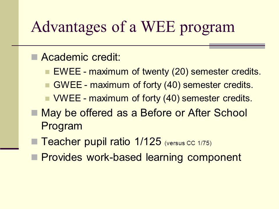 Advantages of a WEE program Academic credit: EWEE - maximum of twenty (20) semester credits. GWEE - maximum of forty (40) semester credits. VWEE - max