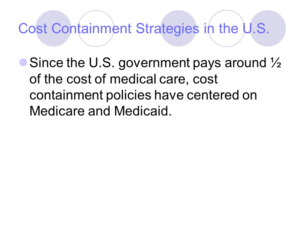 Cost Containment Strategies in the U.S. Since the U.S.
