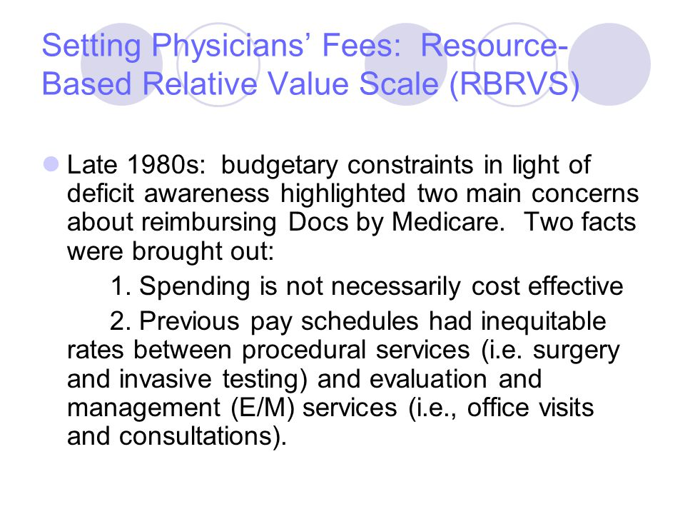 Setting Physicians' Fees: Resource- Based Relative Value Scale (RBRVS) Late 1980s: budgetary constraints in light of deficit awareness highlighted two main concerns about reimbursing Docs by Medicare.