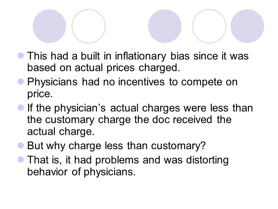 This had a built in inflationary bias since it was based on actual prices charged.