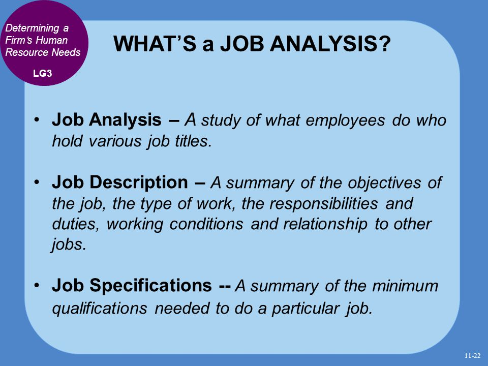 WHAT'S a JOB ANALYSIS? Job Analysis – A study of what employees do who hold various job titles. Job Description – A summary of the objectives of the j