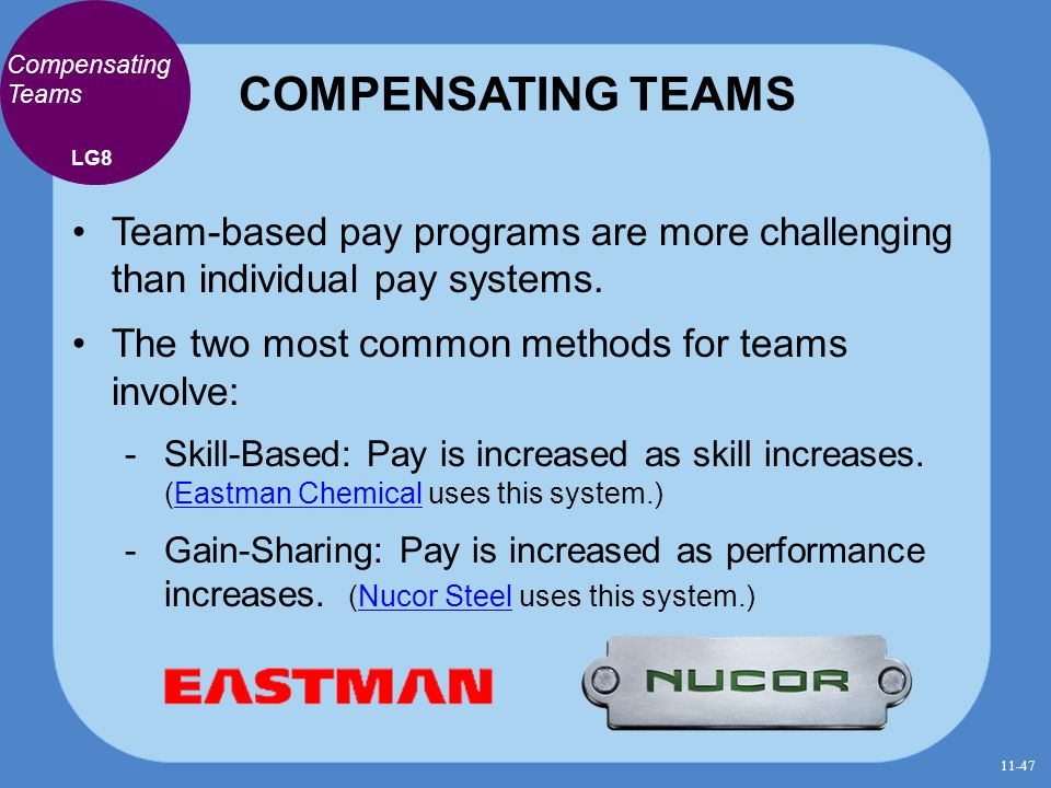 COMPENSATING TEAMS Compensating Teams Team-based pay programs are more challenging than individual pay systems. The two most common methods for teams