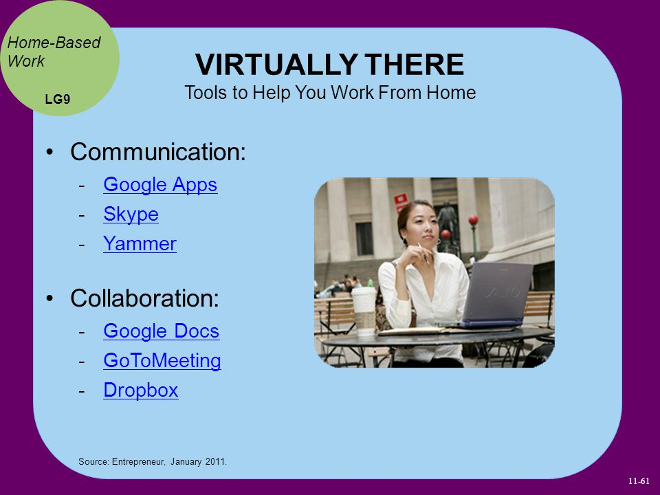VIRTUALLY THERE Tools to Help You Work From Home LG9 Home-Based Work Source: Entrepreneur, January 2011. Communication:  Google Apps Google Apps  Sk