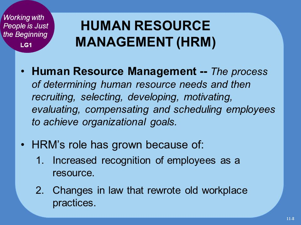 HUMAN RESOURCE MANAGEMENT (HRM) Human Resource Management -- The process of determining human resource needs and then recruiting, selecting, developin