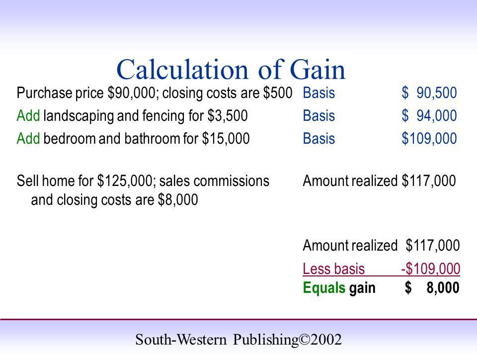 South-Western Publishing©2002 Calculation of Gain Purchase price $90,000; closing costs are $500 Basis $ 90,500 Add landscaping and fencing for $3,500Basis $ 94,000 Add bedroom and bathroom for $15,000 Basis $109,000 Sell home for $125,000; sales commissions Amount realized $117,000 and closing costs are $8,000 Amount realized $117,000 Less basis -$109,000 Equals gain $ 8,000