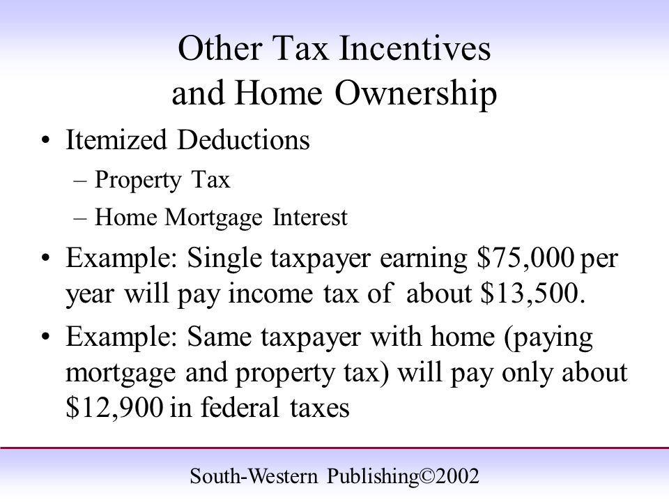 South-Western Publishing©2002 Other Tax Incentives and Home Ownership Itemized Deductions –Property Tax –Home Mortgage Interest Example: Single taxpayer earning $75,000 per year will pay income tax of about $13,500.