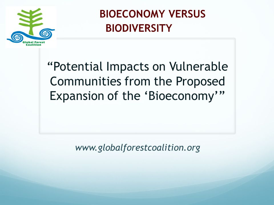 BIOECONOMY VERSUS BIODIVERSITY Potential Impacts on Vulnerable Communities from the Proposed Expansion of the 'Bioeconomy' www.globalforestcoalition.org