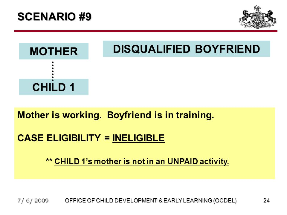 7/ 6/ 2009OFFICE OF CHILD DEVELOPMENT & EARLY LEARNING (OCDEL)24 SCENARIO #9 MOTHER DISQUALIFIED BOYFRIEND CHILD 1 Mother is working.