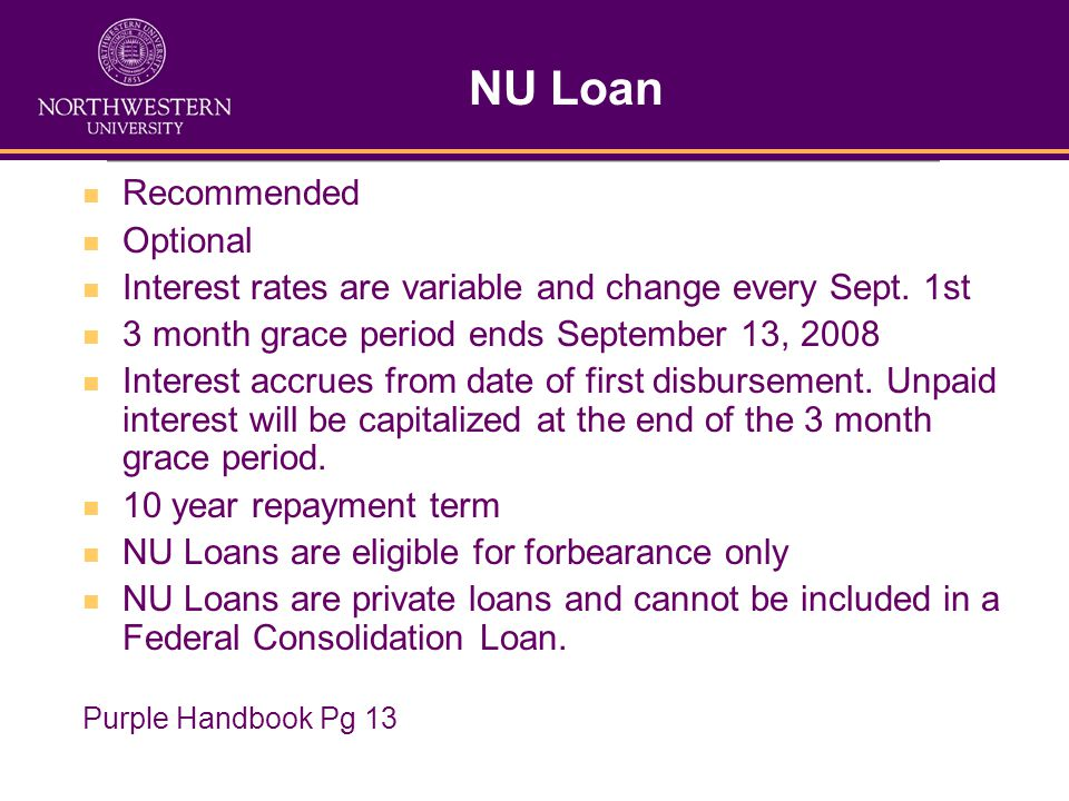 NU Loan Recommended Optional Interest rates are variable and change every Sept.