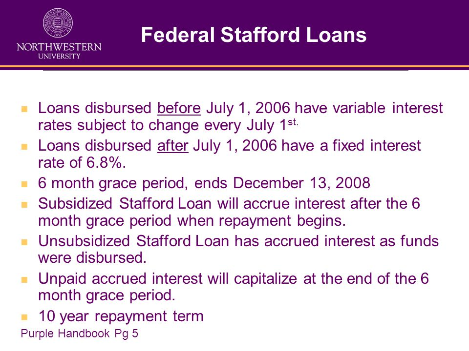 Federal Stafford Loans Loans disbursed before July 1, 2006 have variable interest rates subject to change every July 1 st.