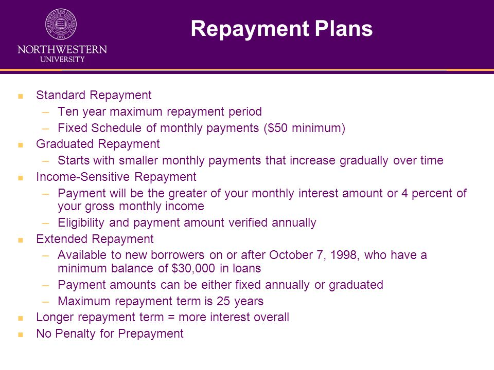 Repayment Plans Standard Repayment –Ten year maximum repayment period –Fixed Schedule of monthly payments ($50 minimum) Graduated Repayment –Starts with smaller monthly payments that increase gradually over time Income-Sensitive Repayment –Payment will be the greater of your monthly interest amount or 4 percent of your gross monthly income –Eligibility and payment amount verified annually Extended Repayment –Available to new borrowers on or after October 7, 1998, who have a minimum balance of $30,000 in loans –Payment amounts can be either fixed annually or graduated –Maximum repayment term is 25 years Longer repayment term = more interest overall No Penalty for Prepayment