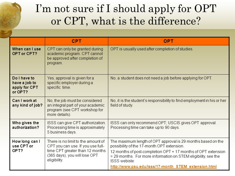 I'm not sure if I should apply for OPT or CPT, what is the difference? CPTOPT When can I use OPT or CPT? CPT can only be granted during academic progr
