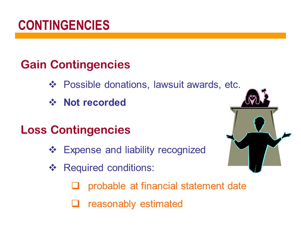 CONTINGENCIES Gain Contingencies  Possible donations, lawsuit awards, etc.