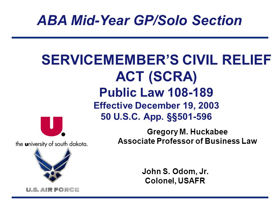 ABA Mid-Year GP/Solo Section Gregory M. Huckabee Associate Professor of Business Law John S.