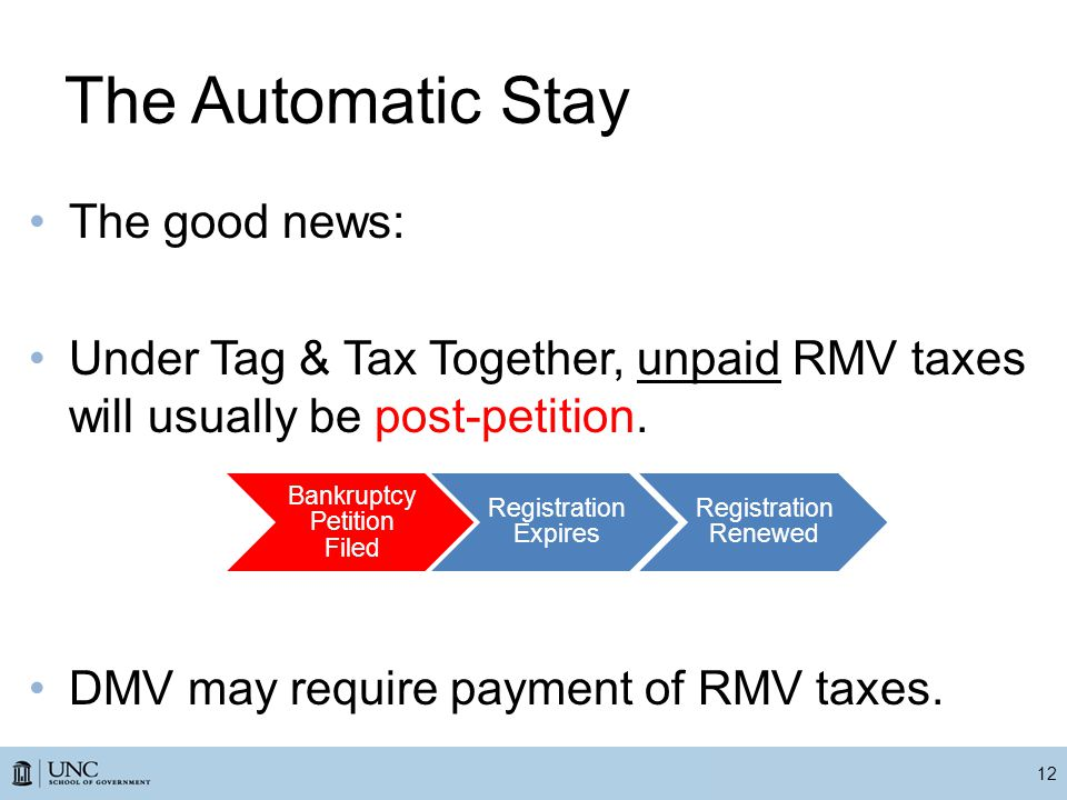 The Automatic Stay The good news: Under Tag & Tax Together, unpaid RMV taxes will usually be post-petition.