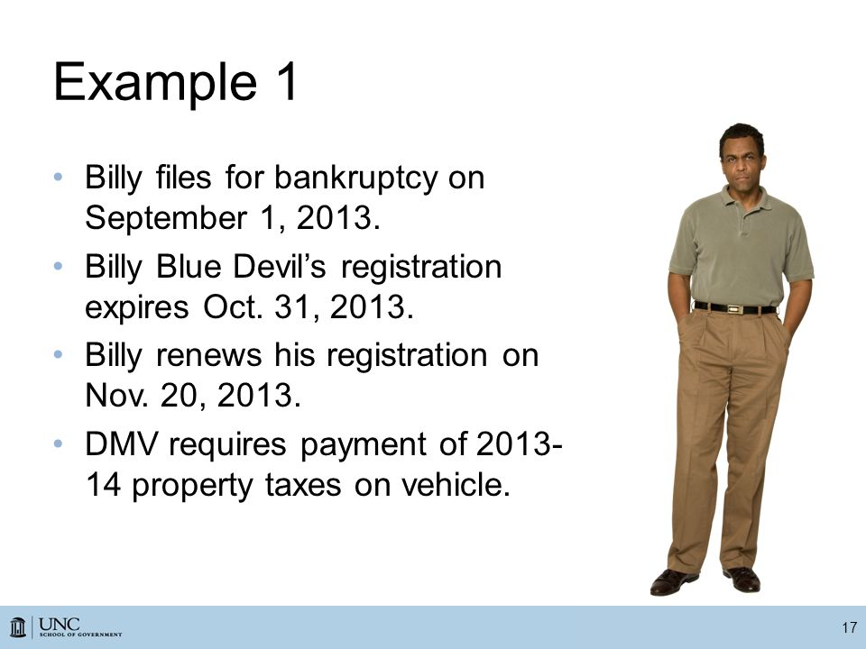 Example 1 Billy files for bankruptcy on September 1, 2013.