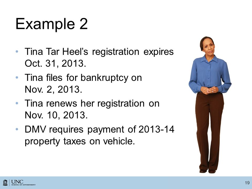 Example 2 Tina Tar Heel's registration expires Oct.