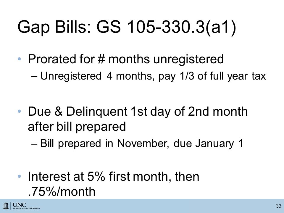 Gap Bills: GS 105-330.3(a1) Prorated for # months unregistered –Unregistered 4 months, pay 1/3 of full year tax Due & Delinquent 1st day of 2nd month after bill prepared –Bill prepared in November, due January 1 Interest at 5% first month, then.75%/month 33