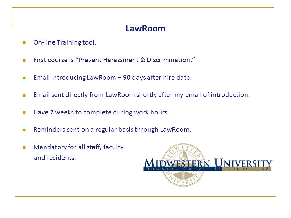 LawRoom On-line Training tool.