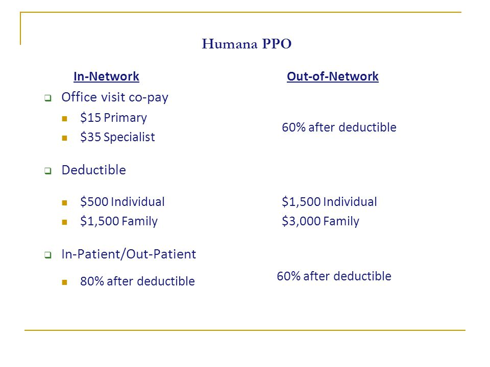 Humana PPO In-Network  Office visit co-pay $15 Primary $35 Specialist  Deductible $500 Individual $1,500 Family  In-Patient/Out-Patient 80% after deductible Out-of-Network 60% after deductible $1,500 Individual $3,000 Family 60% after deductible