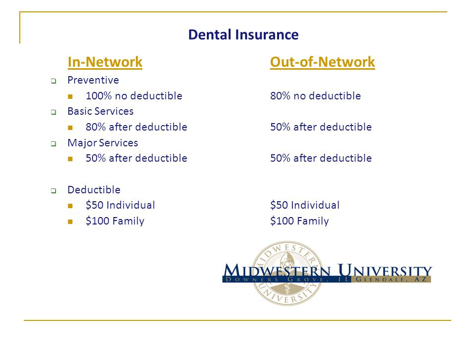 Dental Insurance In-NetworkOut-of-Network  Preventive 100% no deductible 80% no deductible  Basic Services 80% after deductible50% after deductible  Major Services 50% after deductible50% after deductible  Deductible $50 Individual $50 Individual $100 Family$100 Family