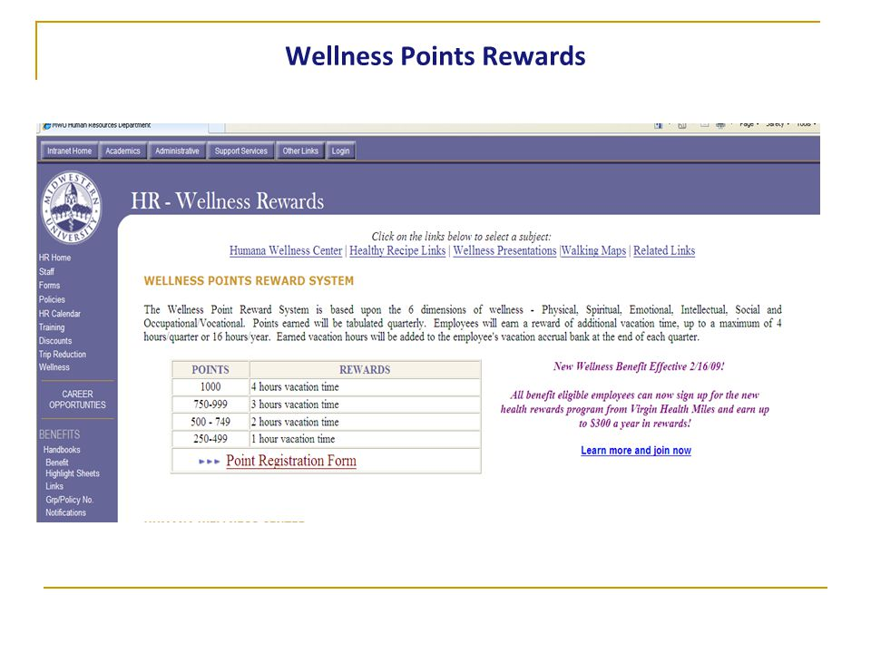 Wellness Points Rewards