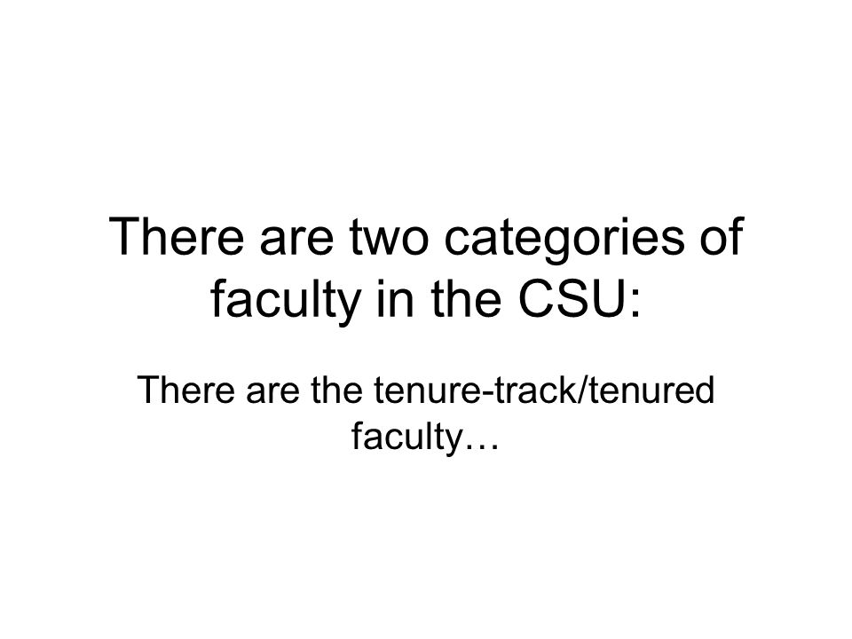 There are two categories of faculty in the CSU: There are the tenure-track/tenured faculty…