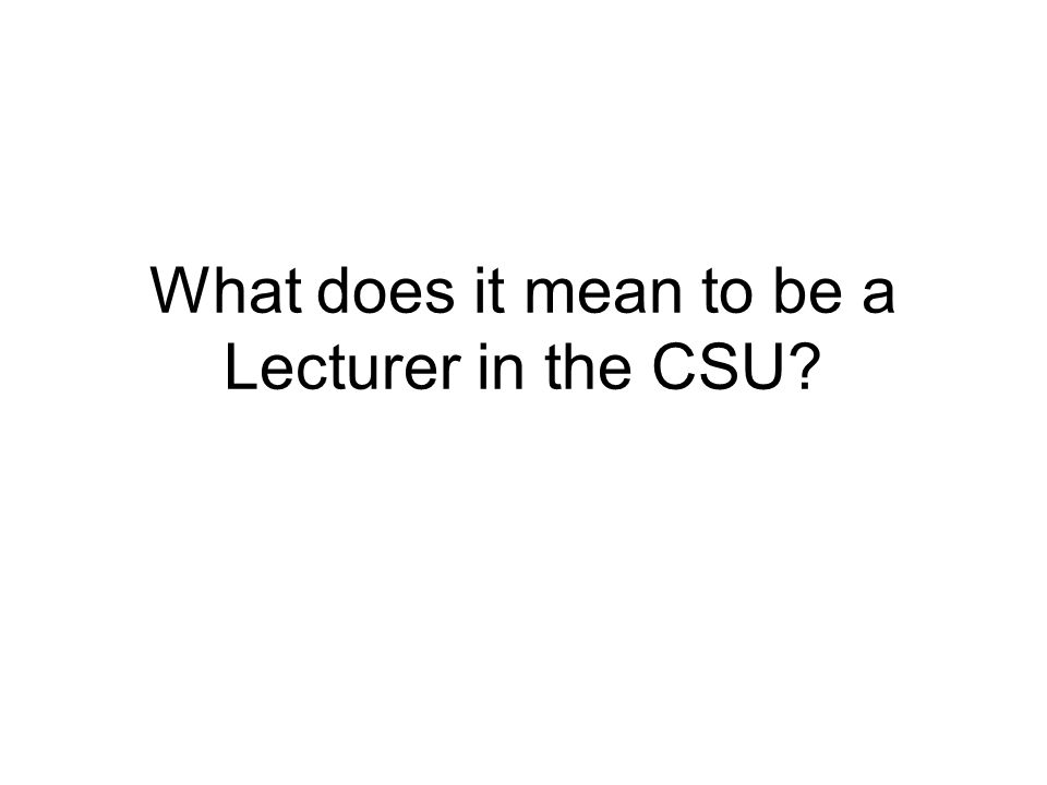 What does it mean to be a Lecturer in the CSU