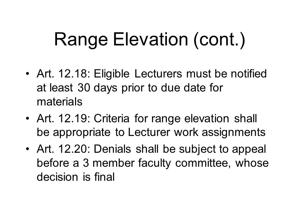 Range Elevation (cont.) Art.