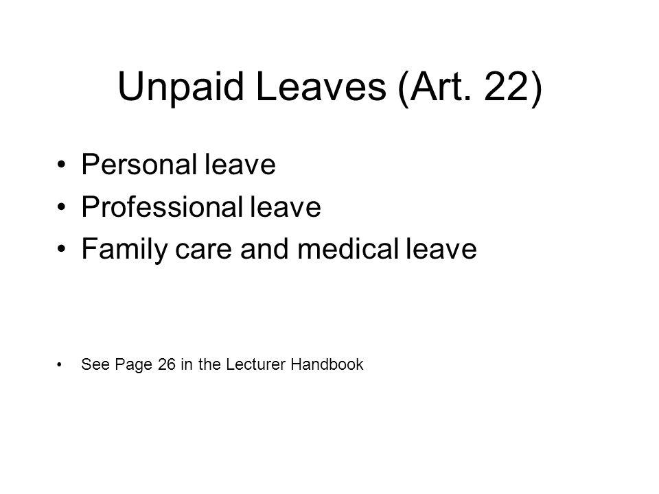 Unpaid Leaves (Art.