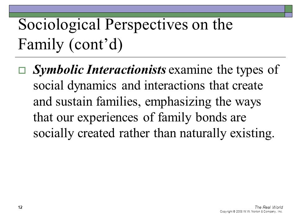 The Real World Copyright © 2008 W.W. Norton & Company, Inc. 12 Sociological Perspectives on the Family (cont'd)  Symbolic Interactionists examine the