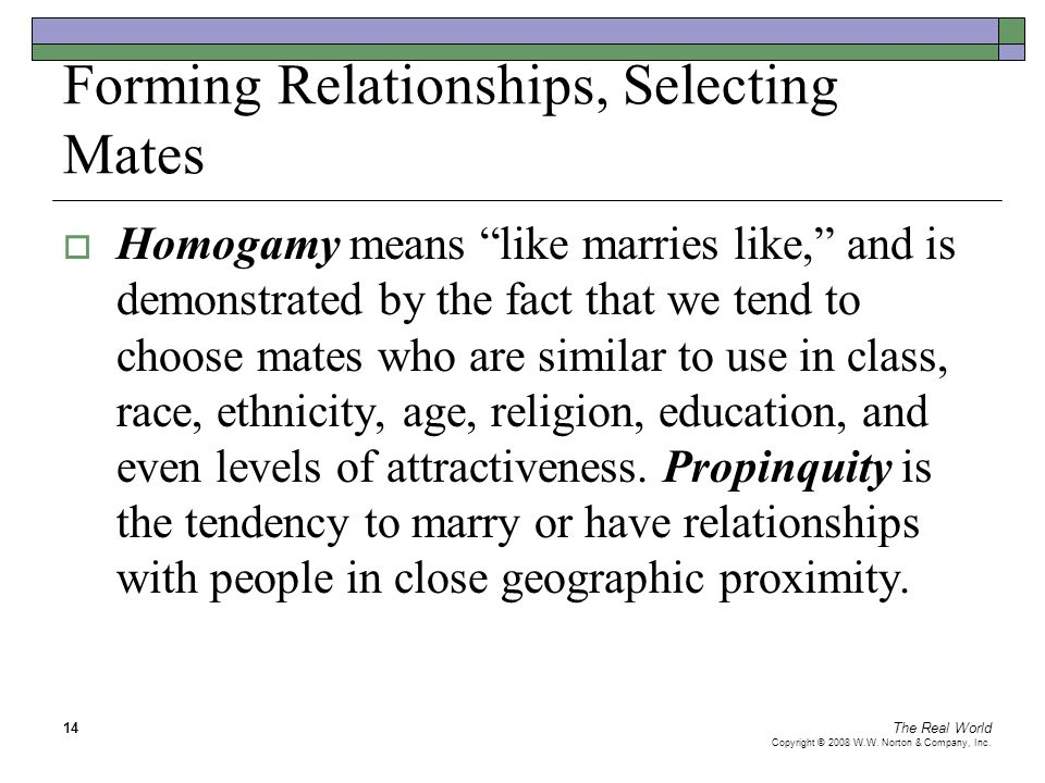 """The Real World Copyright © 2008 W.W. Norton & Company, Inc. 14 Forming Relationships, Selecting Mates  Homogamy means """"like marries like,"""" and is dem"""