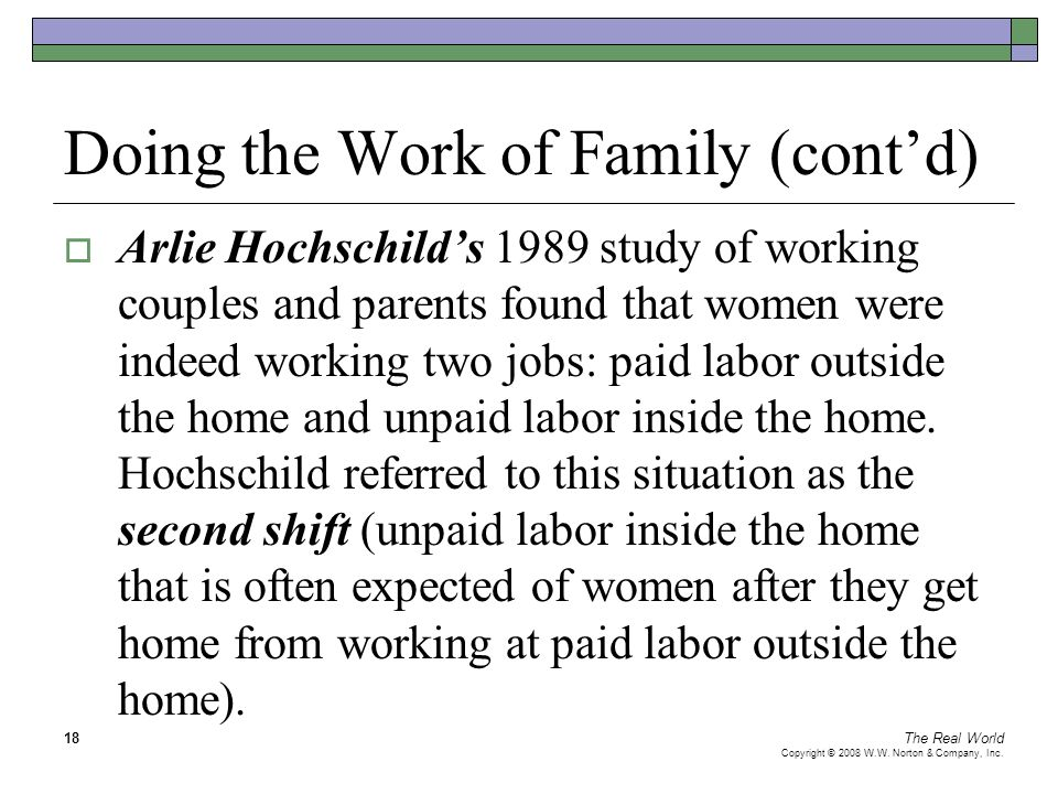 The Real World Copyright © 2008 W.W. Norton & Company, Inc. 18 Doing the Work of Family (cont'd)  Arlie Hochschild's 1989 study of working couples an