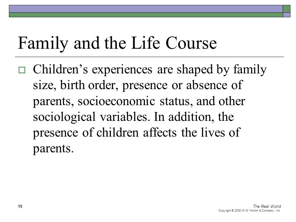 The Real World Copyright © 2008 W.W. Norton & Company, Inc. 19 Family and the Life Course  Children's experiences are shaped by family size, birth or