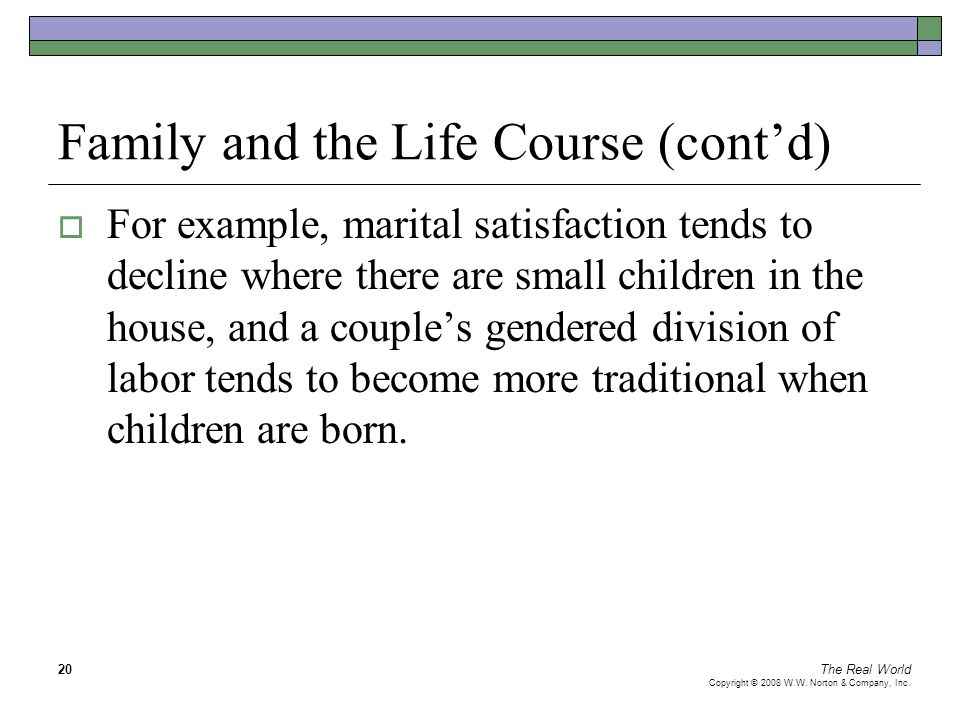The Real World Copyright © 2008 W.W. Norton & Company, Inc. 20 Family and the Life Course (cont'd)  For example, marital satisfaction tends to declin