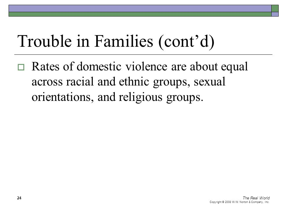 The Real World Copyright © 2008 W.W. Norton & Company, Inc. 24 Trouble in Families (cont'd)  Rates of domestic violence are about equal across racial