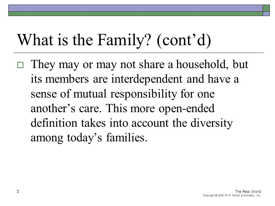 The Real World Copyright © 2008 W.W. Norton & Company, Inc. 3 What is the Family? (cont'd)  They may or may not share a household, but its members ar