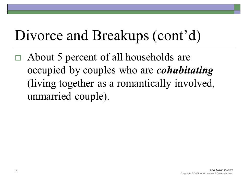 The Real World Copyright © 2008 W.W. Norton & Company, Inc. 30 Divorce and Breakups (cont'd)  About 5 percent of all households are occupied by coupl