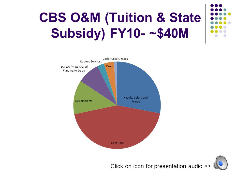 CBS O&M (Tuition & State Subsidy) FY10- ~$40M Click on icon for presentation audio >>