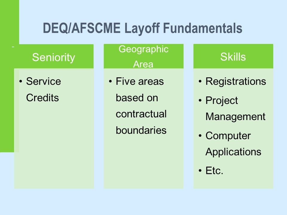 DEQ/AFSCME Layoff Fundamentals Seniority Service Credits Geographic Area Five areas based on contractual boundaries Skills Registrations Project Management Computer Applications Etc.