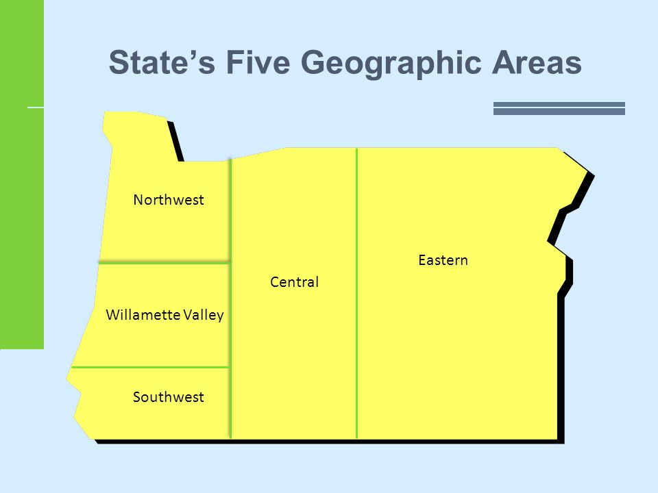State's Five Geographic Areas Central Eastern Northwest Willamette Valley Southwest