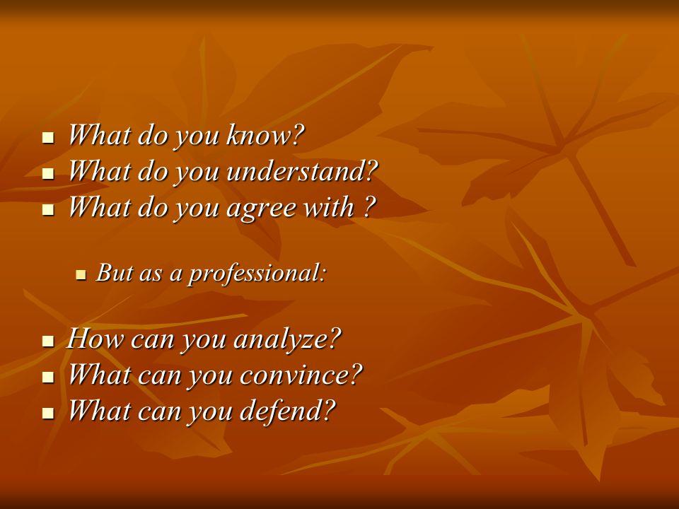 What do you know? What do you know? What do you understand? What do you understand? What do you agree with ? What do you agree with ? But as a profess