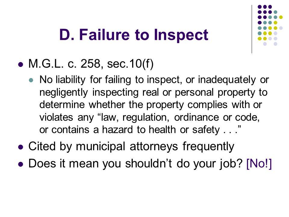 D. Failure to Inspect M.G.L. c.