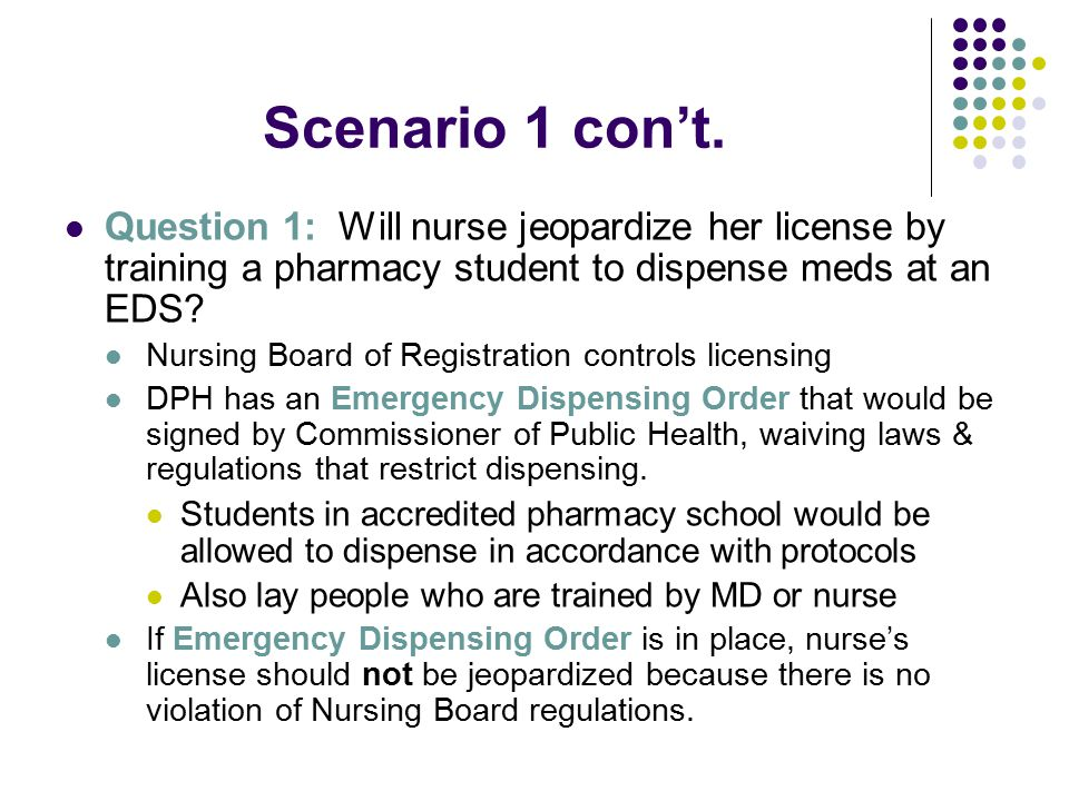 Scenario 1 con't. Question 1: Will nurse jeopardize her license by training a pharmacy student to dispense meds at an EDS? Nursing Board of Registrati
